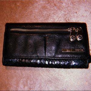 kenneth cole reaction black tri-gold wallet